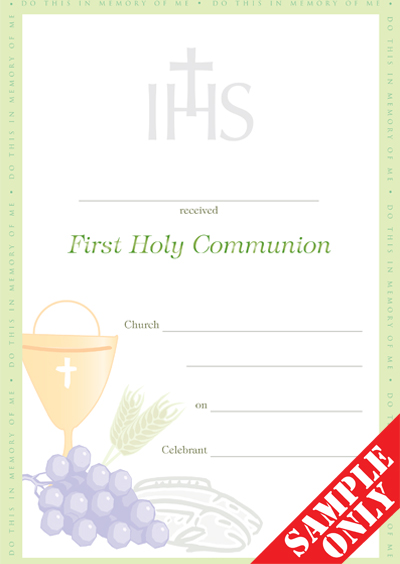 Communion Certificate Ref C31 YOF