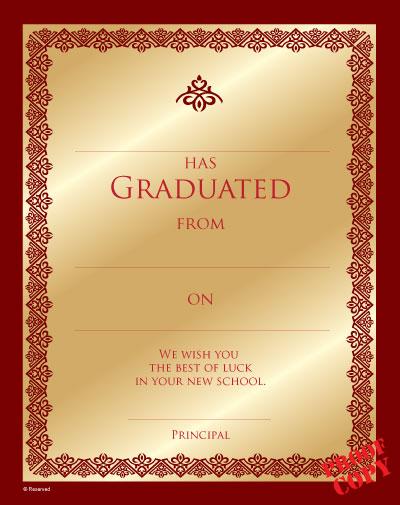 Primary School Graduation Certificate Ref G91