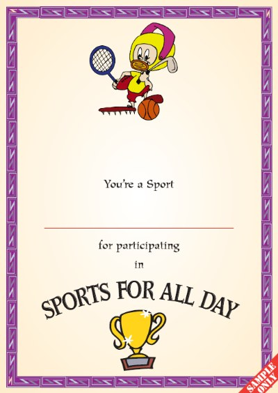 Sports Day Certificate S95