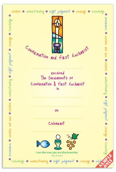 Confirmation & First Eucharist Certificate Ref CC74