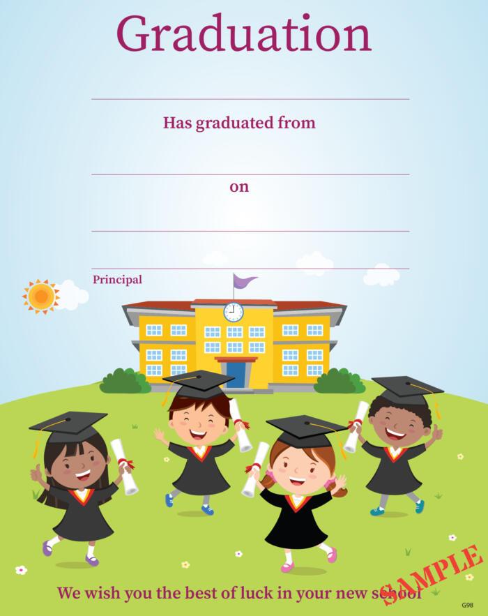 Boys & Girls in Graduation Hats & Gowans