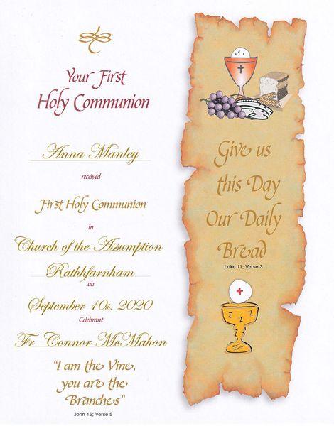 Personalised Communion Certificate Samples