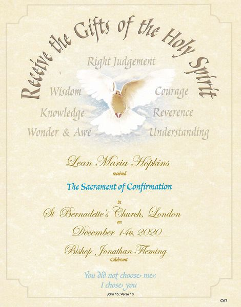 Personalised Confirmation Certificate Samples