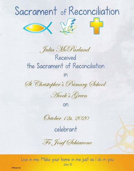 Personalised Reconciliation Certificate Samples