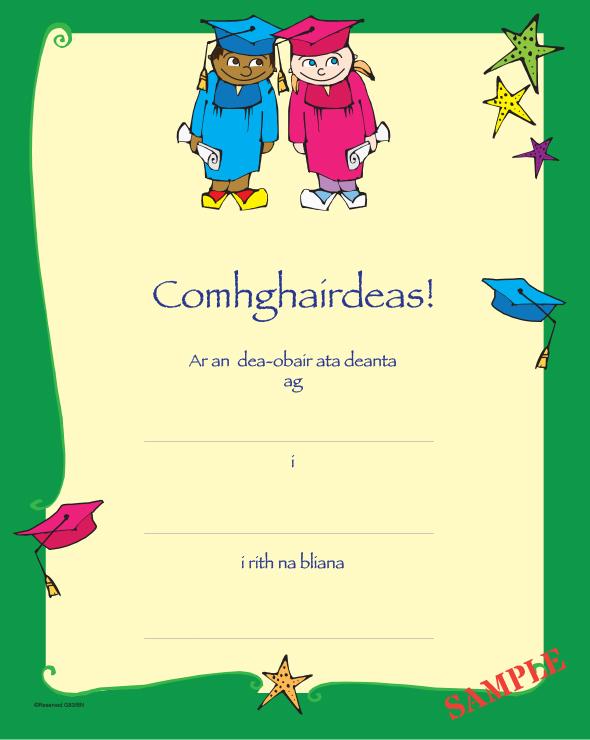 Comhghairdeas Certificate